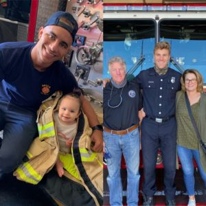 Picture: Left, Shawn is pictured with his daughter. Right, Mario is pictured with his parents.